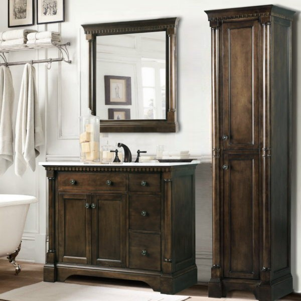 """LEGION FURNITURE WLF6036-36"""" 37 INCH ANTIQUE COFFEE VANITY WITH CARRARA WHITE TOP AND MATCHING BACKSPLASH, NO FAUCET"""