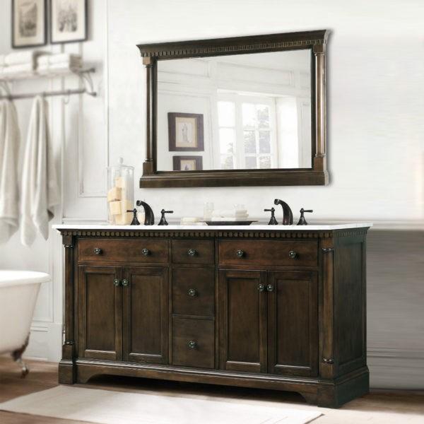 Bellaterra Home 603215 62dm Bg 62 Inch Double Sink Vanity Dark Mahogany