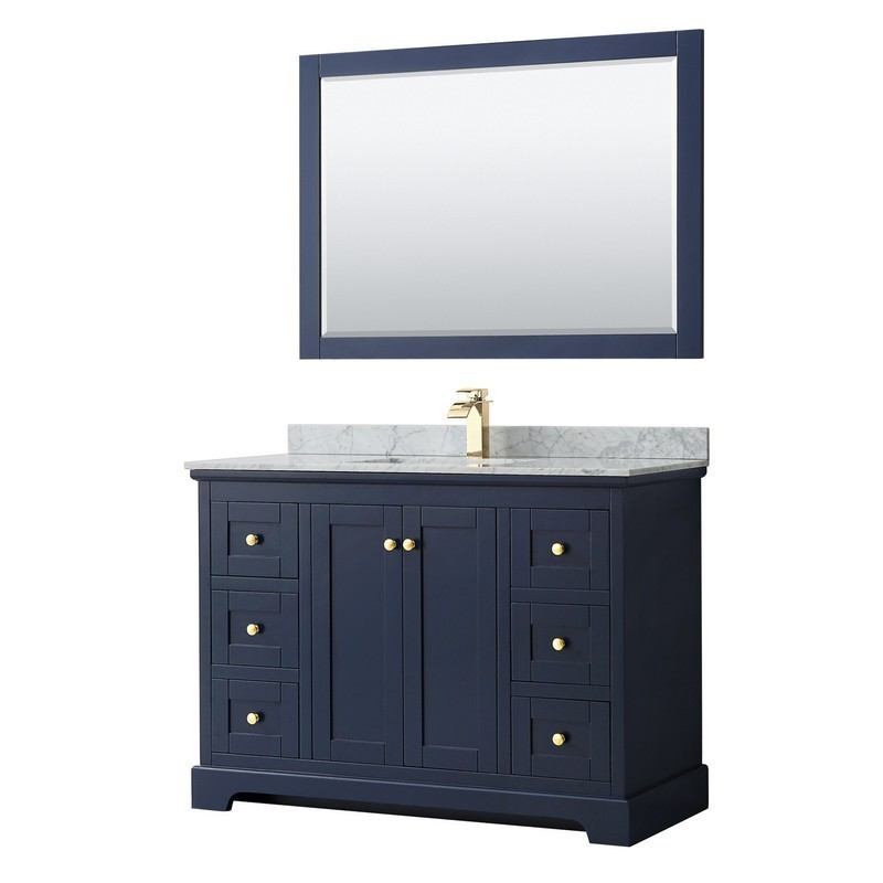 WYNDHAM COLLECTION WCV232348SBLCMUNSM46 AVERY 48 INCH SINGLE BATHROOM VANITY IN DARK BLUE WITH WHITE CARRARA MARBLE COUNTERTOP, UNDERMOUNT SQUARE SINK AND 46 INCH MIRROR