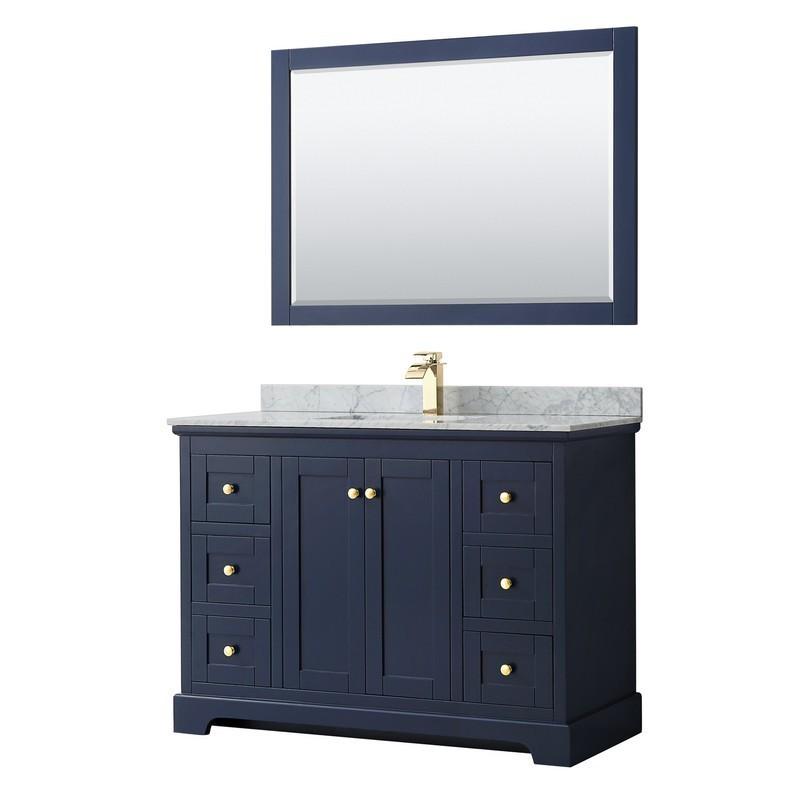 Wyndham Collection Wcv232348sblcmunsm46 Avery 48 Inch Single Bathroom Vanity In Dark Blue With White Carrara Marble