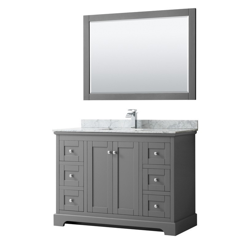 WYNDHAM COLLECTION WCV232348SKGCMUNSM46 AVERY 48 INCH SINGLE BATHROOM VANITY IN DARK GRAY WITH WHITE CARRARA MARBLE COUNTERTOP, UNDERMOUNT SQUARE SINK AND 46 INCH MIRROR