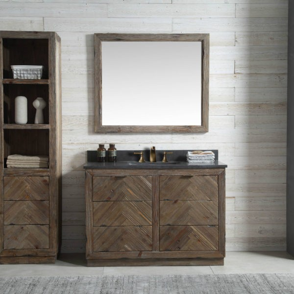 LEGION FURNITURE WH8548 48 INCH WOOD VANITY IN BROWN WITH MARBLE WH5148 TOP, NO FAUCET