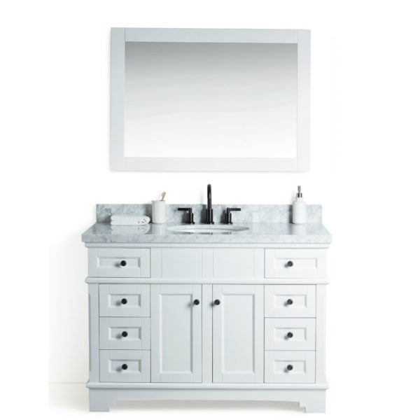 LEGION FURNITURE WS2048-W 48 INCH SOLID WOOD VANITY IN WHITE WITH MIRROR AND FAUCET
