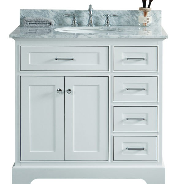 Legion Furniture Ws3036 W 36 Inch Solid Wood Vanity In White No Faucet