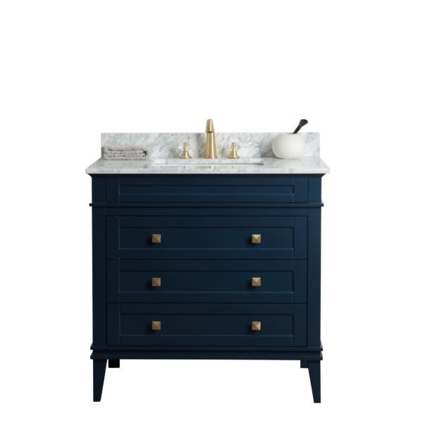 Legion Furniture Ws3136 B 36 Inch Solid Wood Vanity In Blue No Faucet