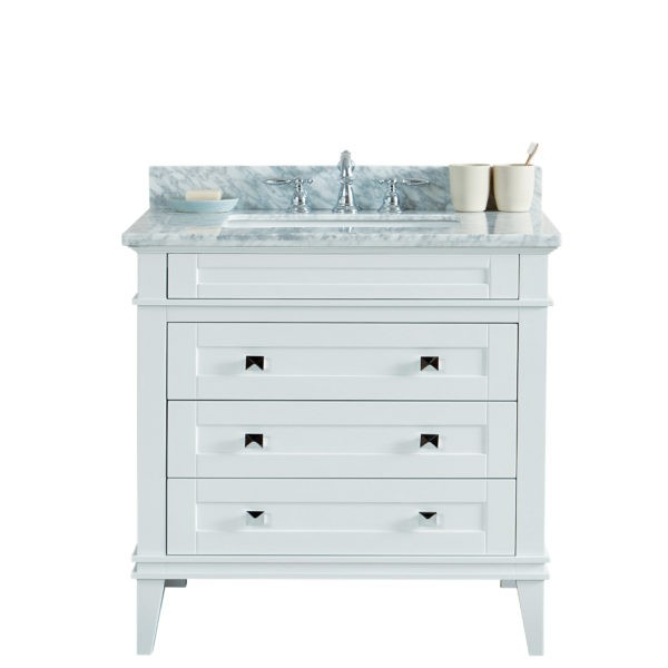 Legion Furniture Ws3136 W 36 Inch Solid Wood Vanity In White No Faucet