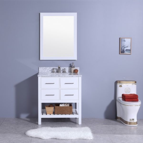 LEGION FURNITURE WT7130-W 31 INCH VANITY SET WITH MIRROR IN WHITE, NO FAUCET