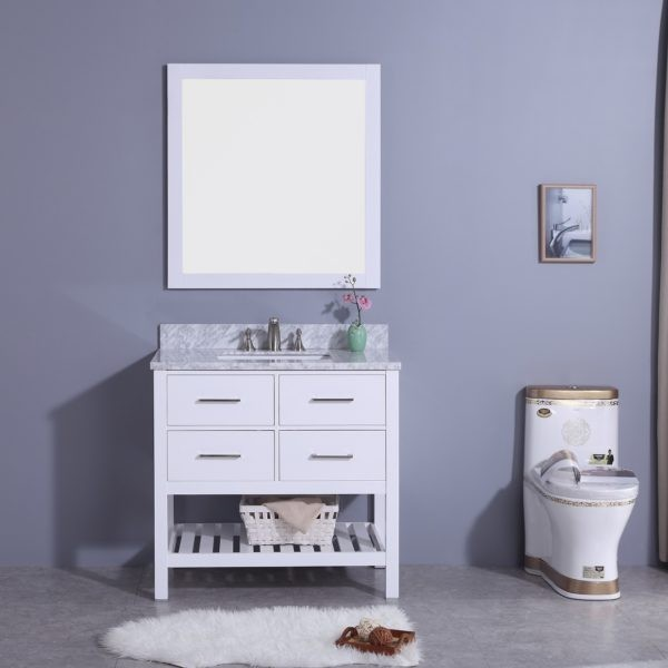 LEGION FURNITURE WT7136-W 37 INCH VANITY SET WITH MIRROR IN WHITE, NO FAUCET