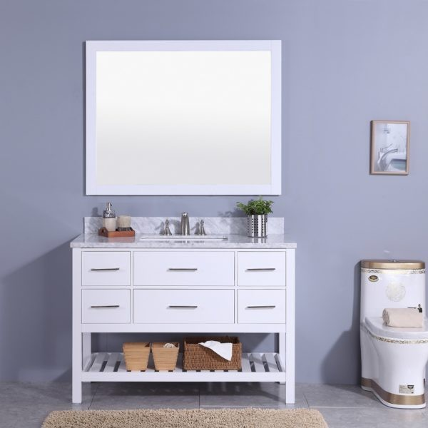 LEGION FURNITURE WT7148-W 49 INCH VANITY SET WITH MIRROR IN WHITE, NO FAUCET