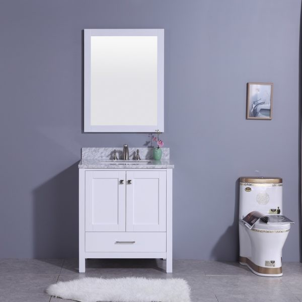 LEGION FURNITURE WT7230-W 31 INCH VANITY SET WITH MIRROR IN WHITE, NO FAUCET
