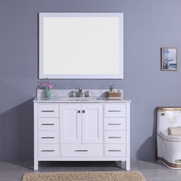 LEGION FURNITURE WT7248-W 49 INCH VANITY SET WITH MIRROR IN WHITE, NO FAUCET