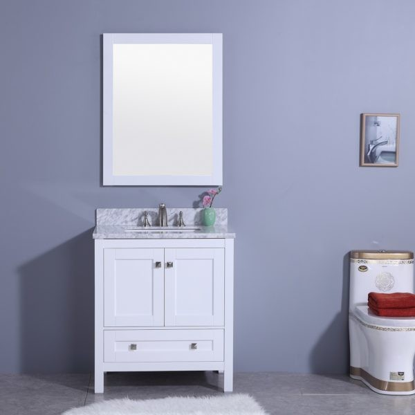 LEGION FURNITURE WT7330-W 31 INCH VANITY SET WITH MIRROR IN WHITE, NO FAUCET