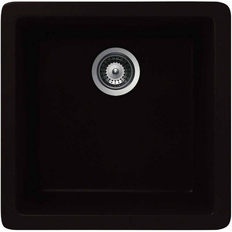 NOVANNI JCES100BL CRISTADUR 17 3/4 INCH GRANITE SINGLE BOWL KITCHEN SINK IN BLACK