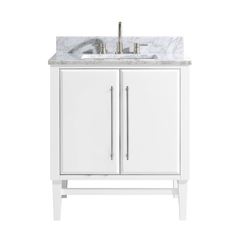 AVANITY MASON-VS31-WTS-C MASON 31 INCH VANITY COMBO IN WHITE WITH SILVER TRIM AND CARRARA WHITE MARBLE TOP
