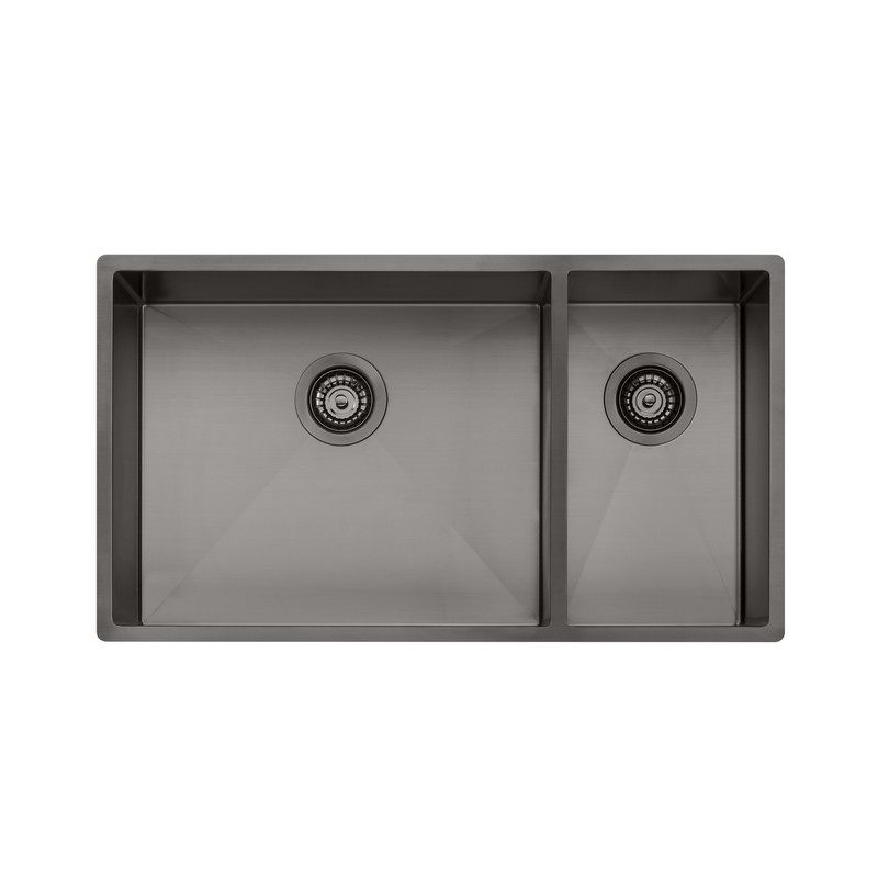 Novanni Olsb35gm Oliveri 31 Inch One And A Half Bowl Stainless Steel Kitchen Sink In Gun Metal