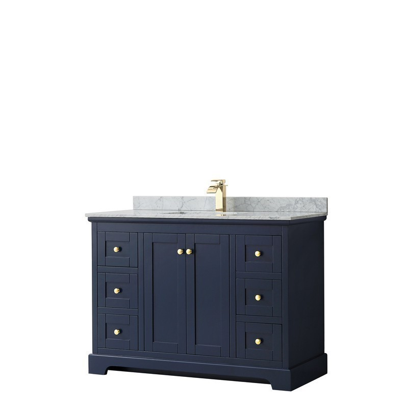 WYNDHAM COLLECTION WCV232348SBLCMUNSMXX AVERY 48 INCH SINGLE BATHROOM VANITY IN DARK BLUE WITH WHITE CARRARA MARBLE COUNTERTOP AND UNDERMOUNT SQUARE SINK