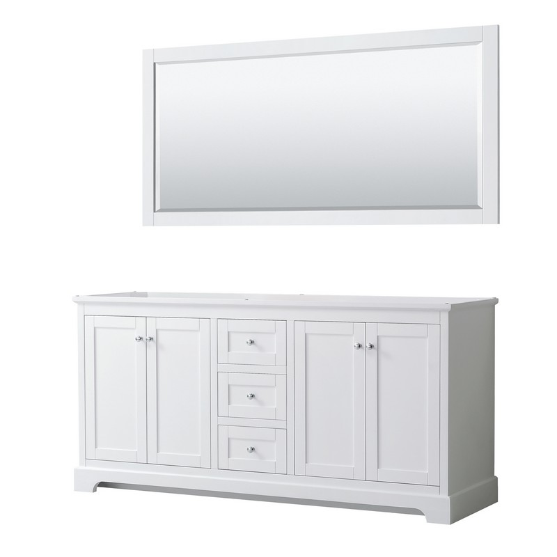 WYNDHAM COLLECTION WCV232372DWHCXSXXM70 AVERY 72 INCH DOUBLE BATHROOM VANITY IN WHITE WITH 70 INCH MIRROR
