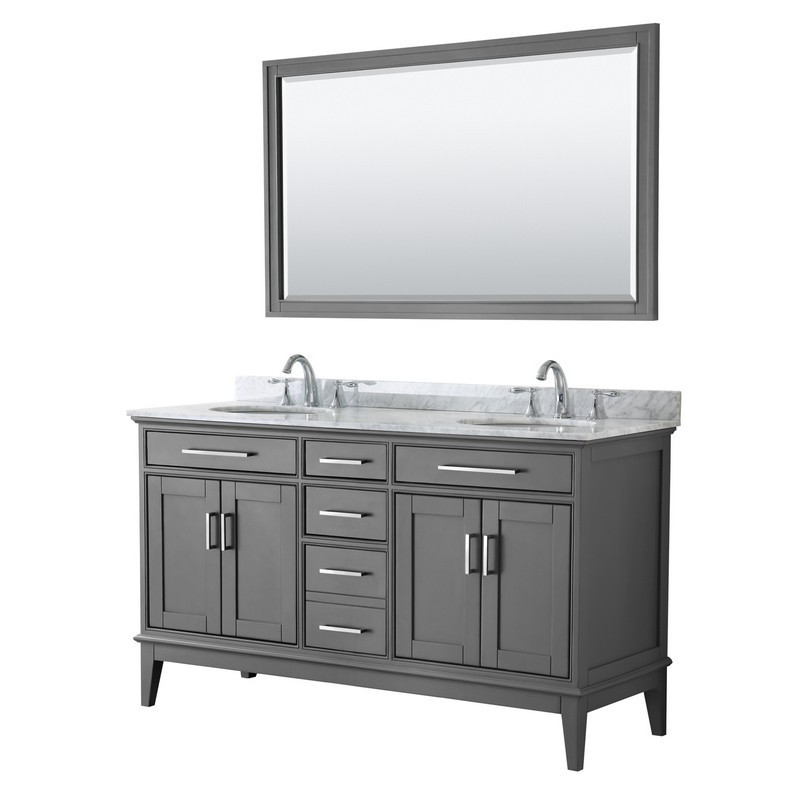 White Carrera Marble Countertop Wyndham Collection Sheffield 60 inch Single Bathroom Vanity in White Undermount Square Sink and 58 inch Mirror
