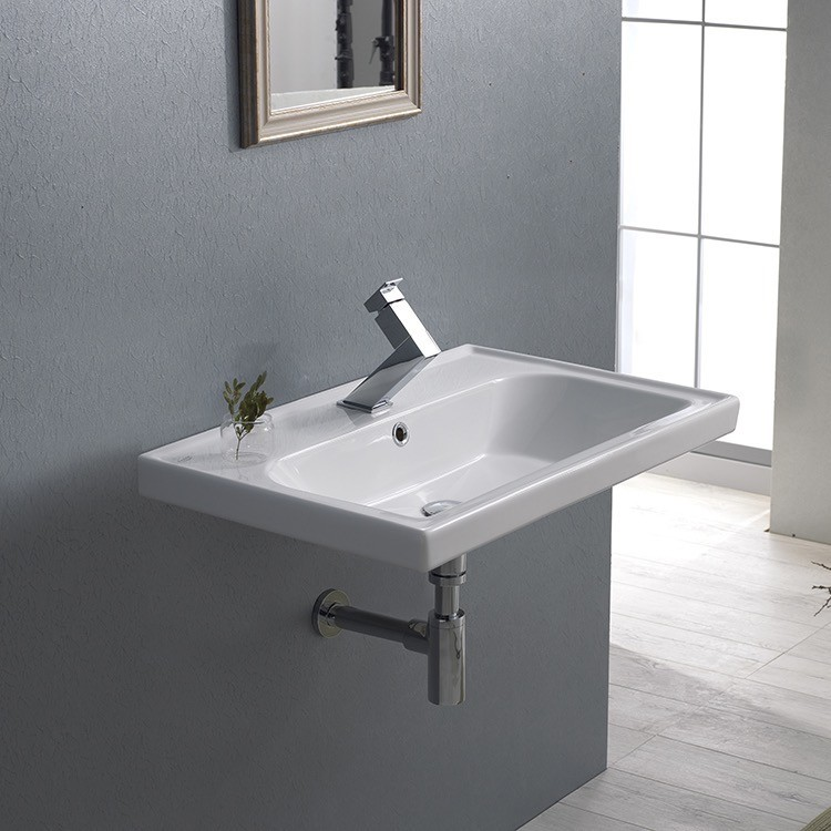 CERASTYLE 031000-U FRAME 24 X 18 INCH RECTANGLE WHITE CERAMIC WALL MOUNTED OR SELF RIMMING SINK