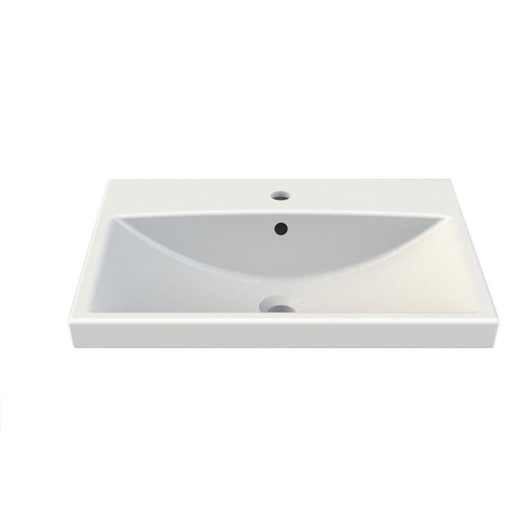 CERASTYLE 032000-U ELITE 24 X 18 INCH RECTANGLE WHITE CERAMIC WALL MOUNTED OR SELF RIMMING SINK