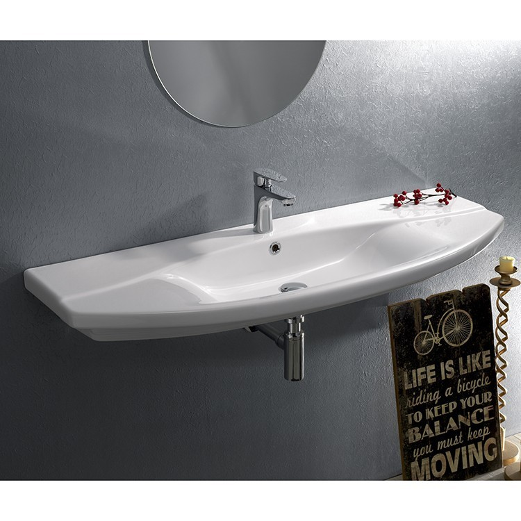 CERASTYLE 032700-U FOCUS 46 X 19 INCH RECTANGLE WHITE CERAMIC WALL MOUNTED OR SELF RIMMING SINK