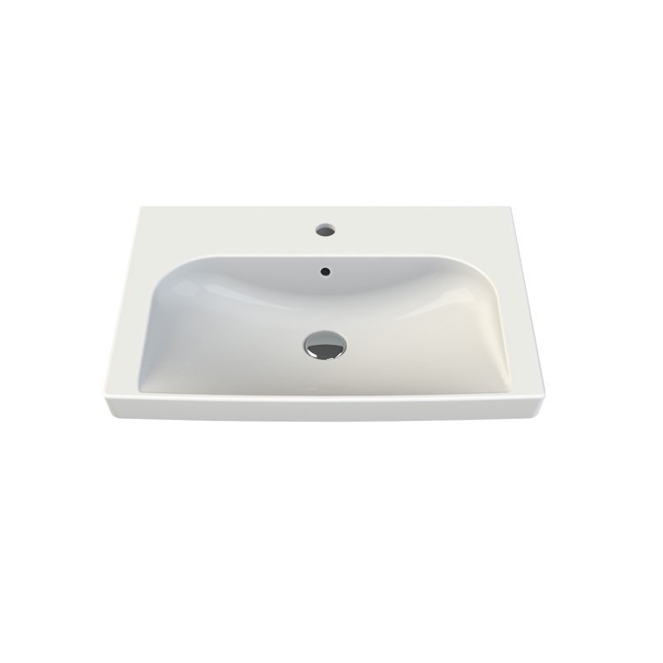 CERASTYLE 034100-U ROMA 26 X 18 INCH RECTANGLE WHITE CERAMIC WALL MOUNTED OR SELF RIMMING SINK