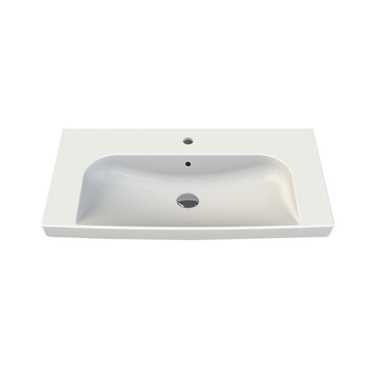 CERASTYLE 034300-U ROMA 33 X 18 INCH RECTANGLE WHITE CERAMIC WALL MOUNTED OR SELF RIMMING SINK