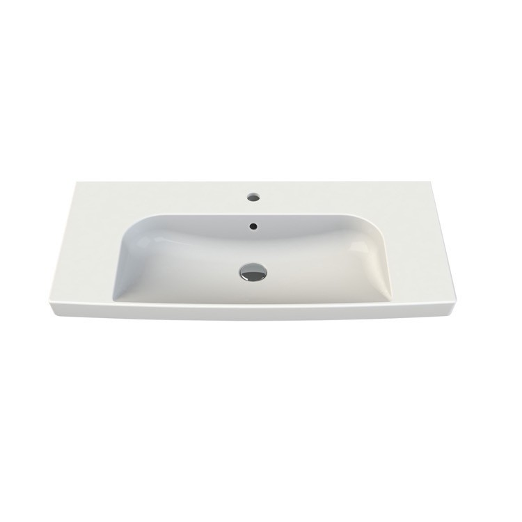 CERASTYLE 034400-U ROMA 37 X 18 INCH RECTANGLE WHITE CERAMIC WALL MOUNTED OR SELF RIMMING SINK