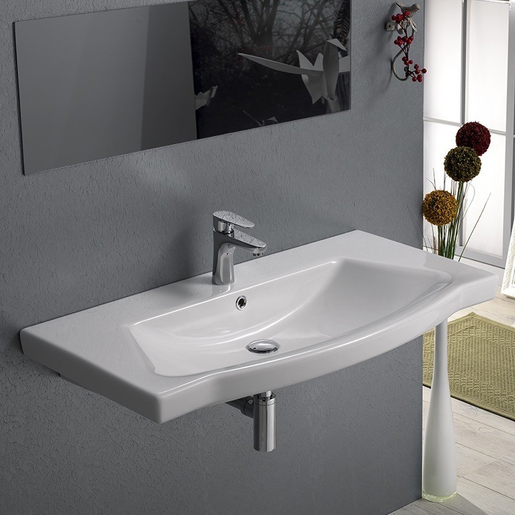 CERASTYLE 040500-U ARGONA 38 X 18 INCH RECTANGLE WHITE CERAMIC WALL MOUNTED OR SELF RIMMING SINK