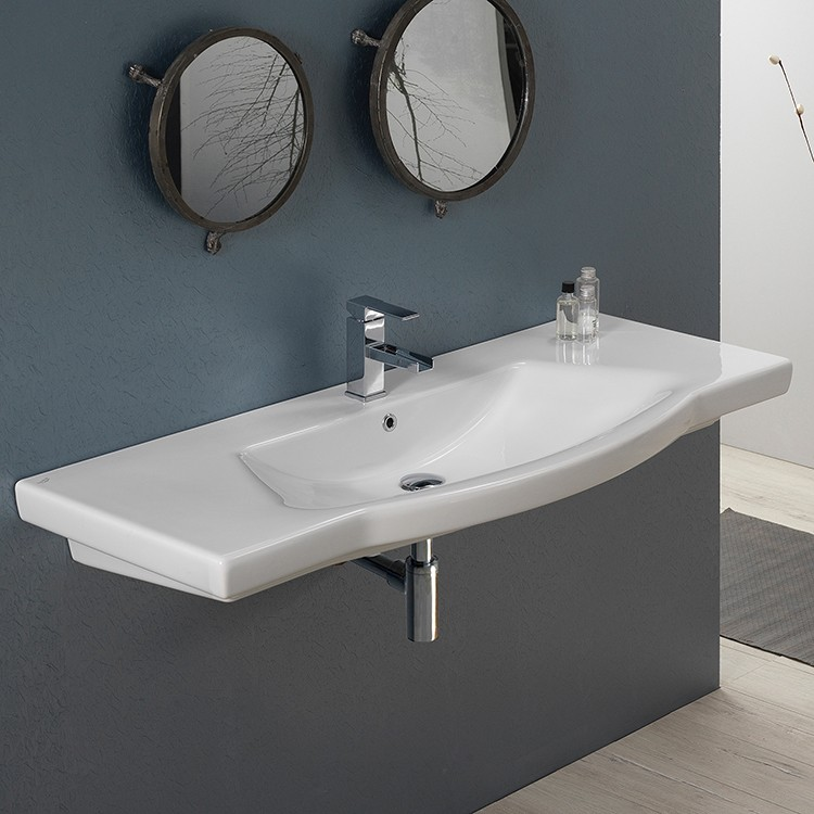 CERASTYLE 040700-U ARGONA 48 X 18 INCH RECTANGLE WHITE CERAMIC WALL MOUNTED OR SELF RIMMING SINK