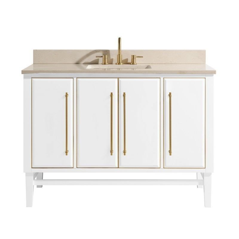 AVANITY MASON-VS49-WTG-D MASON 49 INCH VANITY COMBO IN WHITE WITH GOLD TRIM AND CREMA MARFIL MARBLE TOP