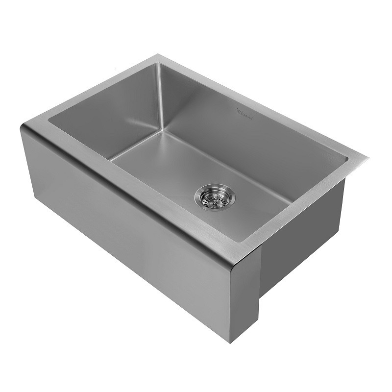 WHIETHAUS WHNPL3020 NOAH PLUS 30 INCH UNDERMOUNT 16 GAUGE SINGLE BOWL SINK SET WITH A SEAMLESS CUSTOMIZED APRONT FRONT