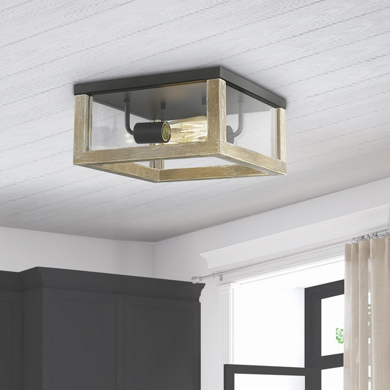 OVE DECORS 15LFMR-CLAR12-PBLKY CLARK 2-LIGHT SQUARE FLUSHMOUNT SQUARE IN DRIFTWOOD BLACK WITH INCLUDED BULBS
