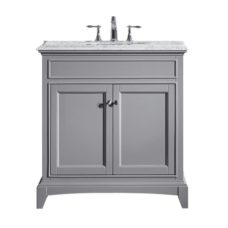 Eviva Evvn709 36gr Elite Stamford 36 Inch Gray Solid Wood Bathroom Vanity Set With Double Og White Carrera Marble Top