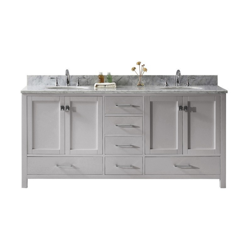 VIRTU USA GD-50072-WMRO-NM CAROLINE AVENUE 72 INCH DOUBLE BATH VANITY WITH MARBLE TOP AND ROUND SINK