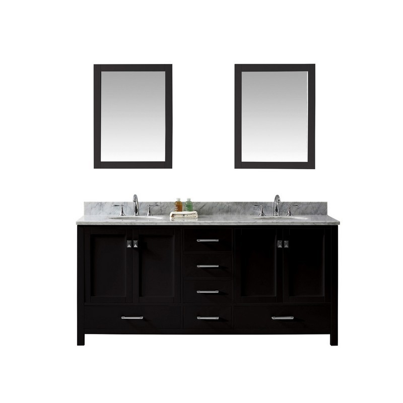 VIRTU USA GD-50072-WMRO-020 CAROLINE AVENUE 72 INCH DOUBLE BATH VANITY WITH MARBLE TOP AND ROUND SINK WITH MIRRORS