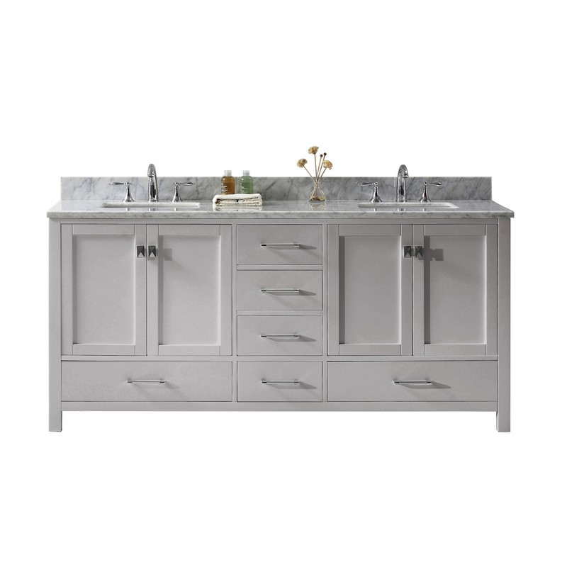 VIRTU USA GD-50072-WMSQ-NM CAROLINE AVENUE 72 INCH DOUBLE BATH VANITY WITH MARBLE TOP AND SQUARE SINK