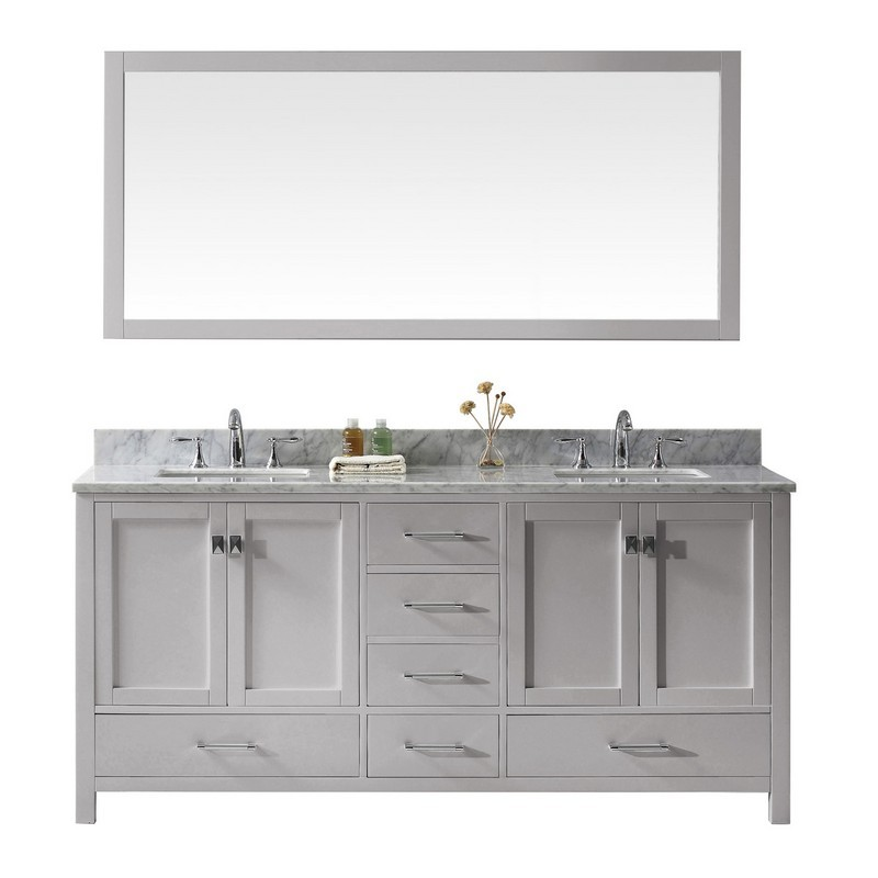 VIRTU USA GD-50072-WMSQ CAROLINE AVENUE 72 INCH DOUBLE BATH VANITY WITH MARBLE TOP AND SQUARE SINK WITH MIRROR