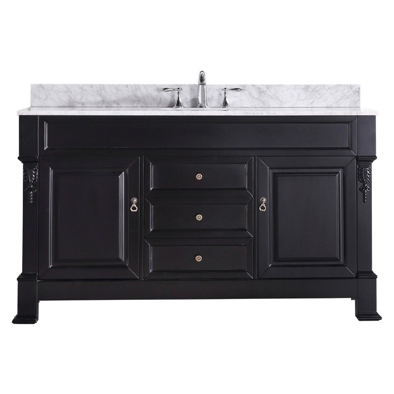 Virtu Usa Gs 4060 Wmro Dw Nm Huntshire 60 Inch Single Double Bath Vanity With Marble Top And Round Sink Virtu Usa