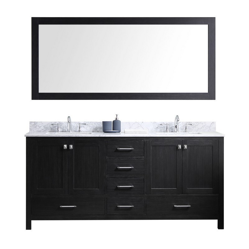 VIRTU USA KD-60072-WMSQ-ZG CAROLINE PREMIUM 72 INCH DOUBLE BATH VANITY IN ZEBRA GREY WITH MARBLE TOP AND SQUARE SINK WITH MIRROR