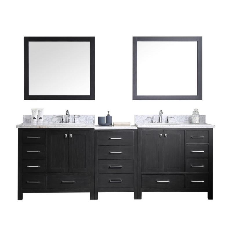 Virtu Usa Kd 60090 Wmro Zg Caroline Premium 90 Inch Double Bath Vanity In Zebra Grey With Marble Top And Round Sink