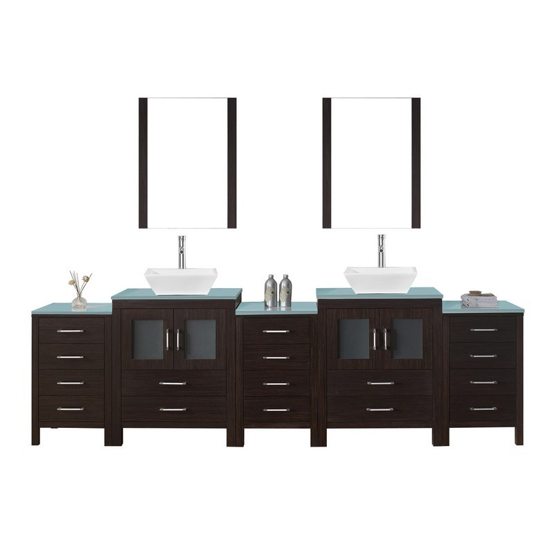 Virtu Usa Kd 700110 Wm Es Dior 110 Inch Double Bath Vanity With Marble Top And Square Sink With Polished Chrome
