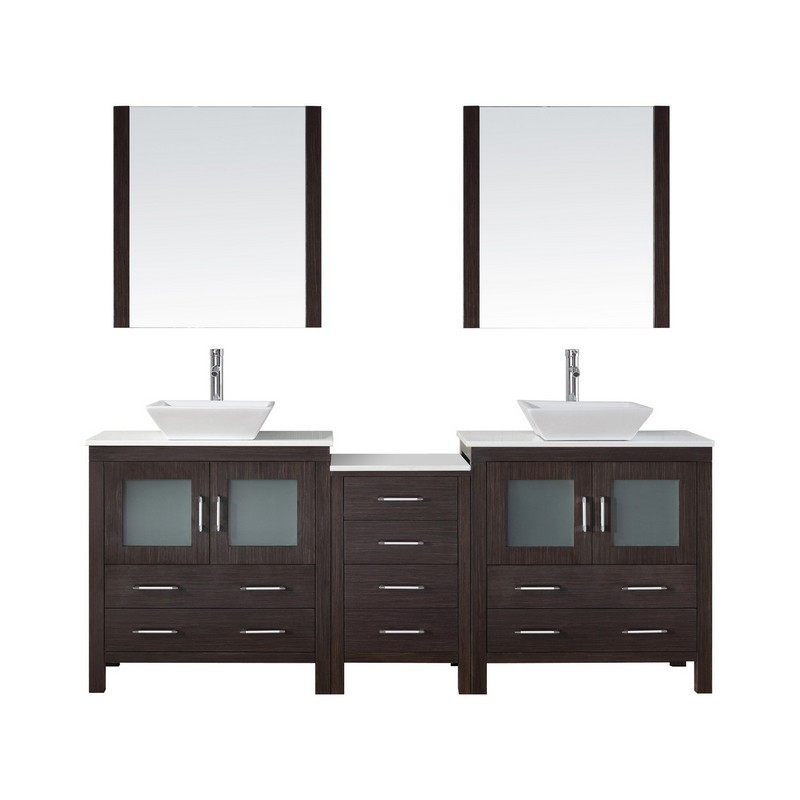 VIRTU USA KD-70082-S DIOR 82 INCH DOUBLE BATH VANITY WITH WHITE ENGINEERED STONE TOP AND SQUARE SINK WITH POLISHED CHROME FAUCET AND MIRRORS
