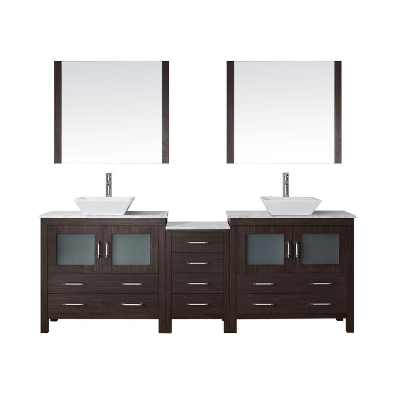 VIRTU USA KD-70082-WM DIOR 82 INCH DOUBLE BATH VANITY WITH MARBLE TOP AND SQUARE SINK WITH POLISHED CHROME FAUCET AND MIRRORS