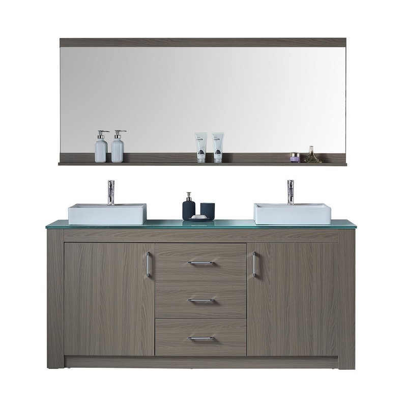 VIRTU USA KD-90072-G TAVIAN 72 INCH DOUBLE BATH VANITY WITH AQUA TEMPERED GLASS TOP AND SQUARE SINK WITH POLISHED CHROME FAUCET AND MIRROR