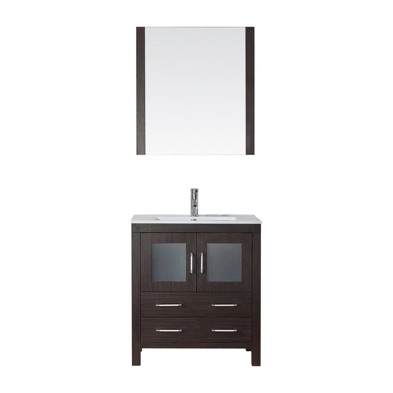 Virtu Usa Ks 70030 C Wh 001 Dior 30 Inch Single Bath Vanity With Slim White Ceramic Top And Square Sink With Brushed