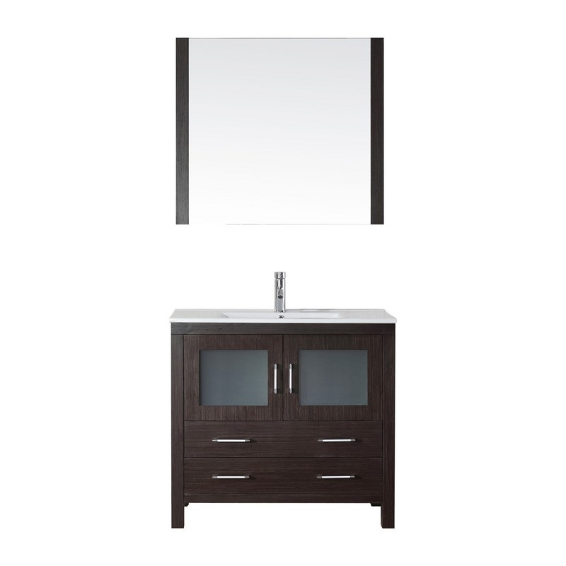 VIRTU USA KS-70036-C DIOR 36 INCH SINGLE BATH VANITY WITH SLIM WHITE CERAMIC TOP AND SQUARE SINK WITH POLISHED CHROME FAUCET AND MIRROR