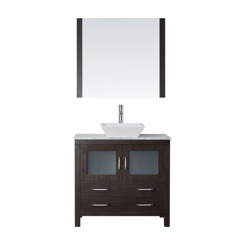VIRTU USA KS-70036-WM DIOR 36 INCH SINGLE BATH VANITY WITH MARBLE TOP AND SQUARE SINK WITH POLISHED CHROME FAUCET AND MIRROR
