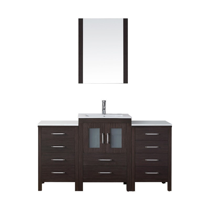 VIRTU USA KS-70060-C DIOR 60 INCH SINGLE BATH VANITY WITH SLIM WHITE CERAMIC TOP AND SQUARE SINK WITH POLISHED CHROME FAUCET AND MIRROR