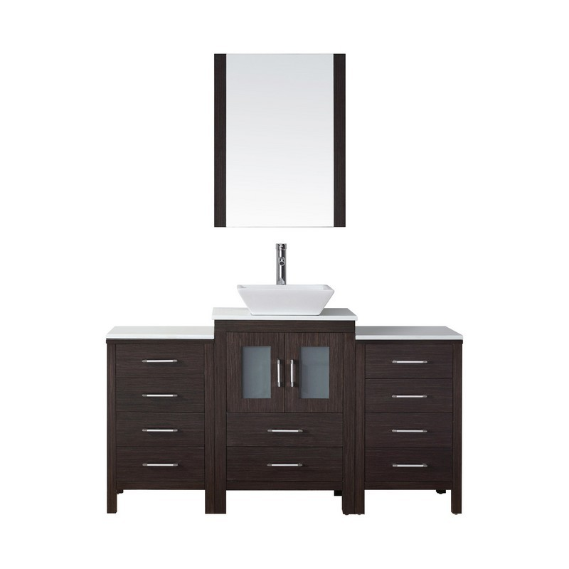 VIRTU USA KS-70060-S DIOR 60 INCH SINGLE BATH VANITY WITH WHITE ENGINEERED STONE TOP AND SQUARE SINK WITH POLISHED CHROME FAUCET AND MIRROR